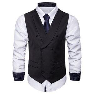 Image 3 - Мужской костюмный жилет, осенняя новая однотонная куртка без рукавов, деловой повседневный мужской жилет, черный, серый, синий Модный жилет в искусственном стиле