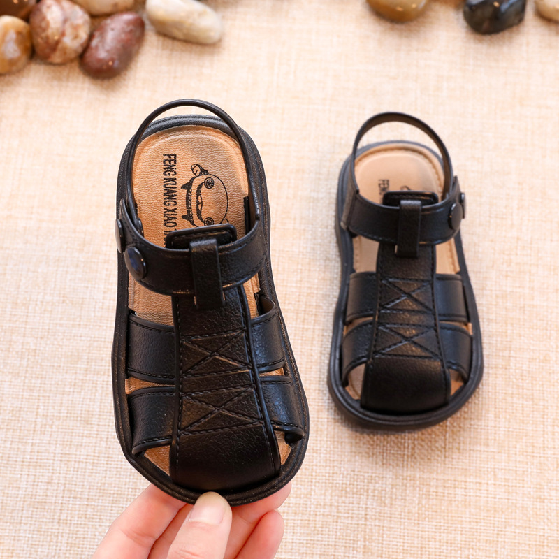 2020 Kids Sandals Girls Boy Shoes Toddler Sandals Baby Girl Boy Shoes Solid Color Non-slip PU Leather Breathable Toddler Shoes