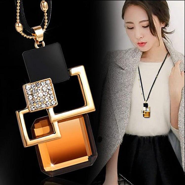 BYSPT longs colliers et pendentifs pour femmes Collier Femme géométrique déclaration Colar Maxi mode cristal Bijoux Bijoux 1