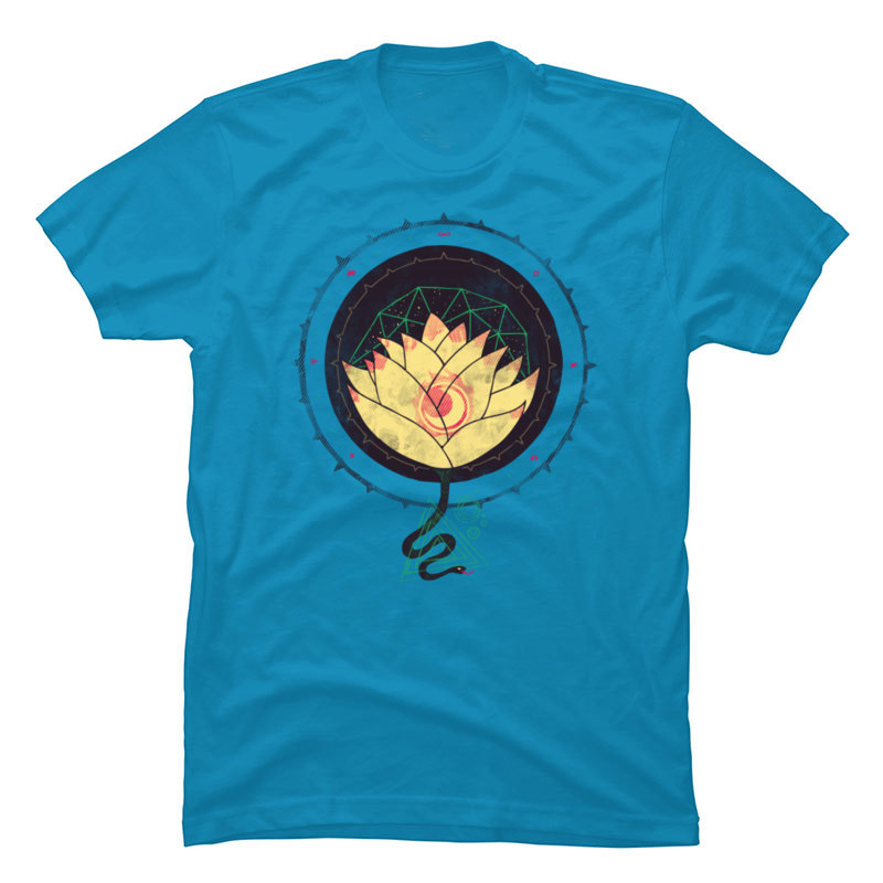 Geometric Lotus Pattern Graphic <font><b>OM</b></font> <font><b>Tshirts</b></font> Cotton Fabric Blue Print Men T Shirt Summer Short Sleeve Tops Tees Free Shipping image