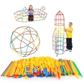 100 sztuk 4D DIY plastikowe zabawki słomy walki wstawione budowlane zestawy do budowania bloki zabawek cegieł Christmas Gift dla dzieci sprzedaż hurtowa tanie i dobre opinie BOOMTECK CN (pochodzenie) Unisex 2-4 lat Certyfikat XG01001-1 BLOCKS Do not eat! Z tworzywa sztucznego Samozamykajcy cegły