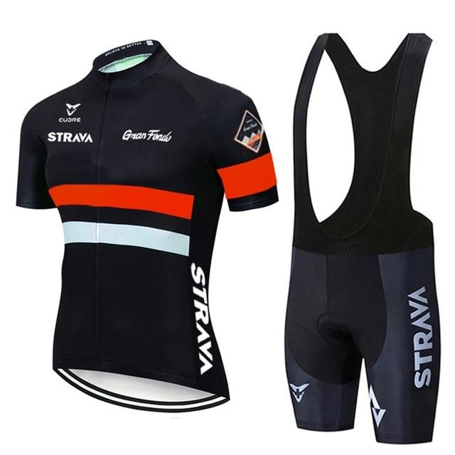 2021 strava pro equipe de verão conjunto camisa ciclismo bicicleta roupas respirável dos homens manga curta camisa bib shorts 5