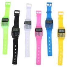 Светодиодный калькулятор часы электронный цифровой хронограф компьютер Резиновые наручные часы Дети Мальчики Девочки Спортивная игрушка