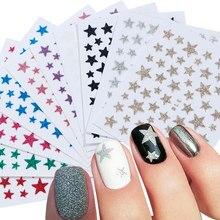 Autocollants adhésifs pour Nail Art, or, noir, paillettes 3D, étoile brillante, Design pour manucure, feuille de décoration, 1 pièce, TRNC132