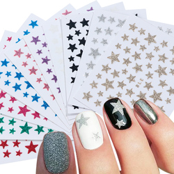 1pcs Gold Black Nail Art Stickers Adhesive Sliders 3D Glitter Star Shiny Nail Decals Design For Manicure Foil Decoration TRNC132