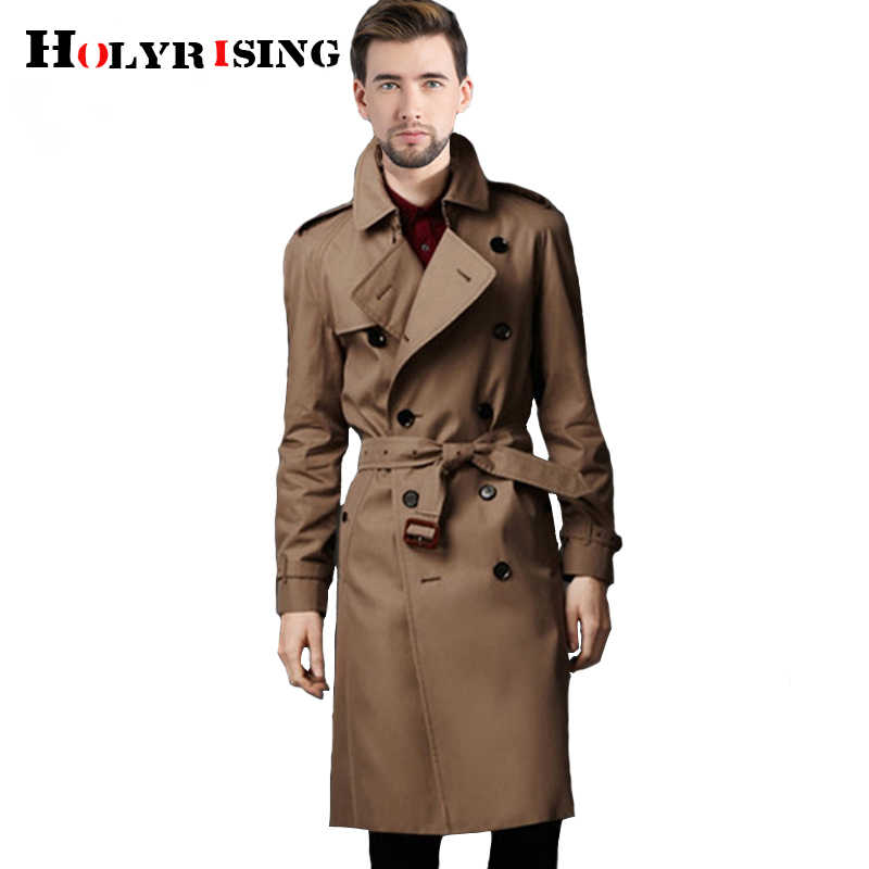 Holyester Mannen trenchcoat Business mannen windbreakers Effen Kleur Lange Mannen Fashion Herfst Jassen S-5XL 18998