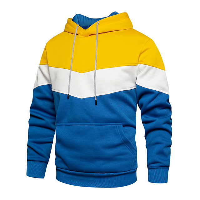 Men's Patchwork Hooded Sweatshirt Hoodies Clothing Casual Loose Fleece Warm Streetwear Male Fashion Autumn Winter Outwear 2