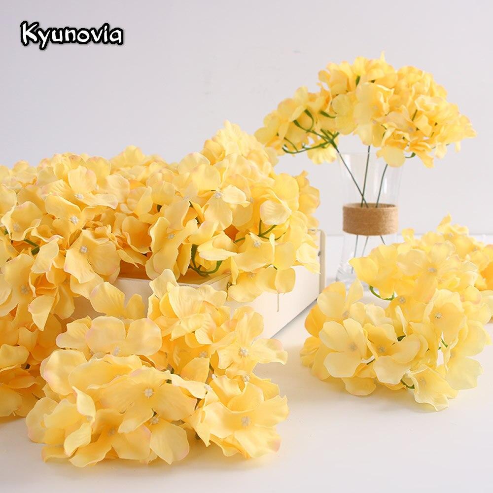 Kyunovia, 50 шт в наборе, искусственная шелковая Гортензия цветок с шариковой головкой для хризантемы Свадебные путь домой отель цветочным принт...