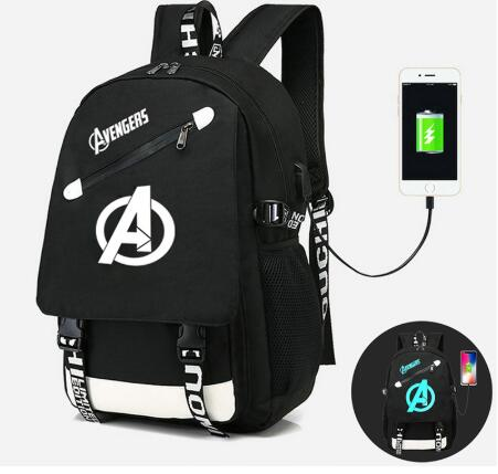 Luminous Student School Backpack The Avengers Anime USB Charge Laptop Computer Backpack For Teenager Anti-theft Boys Bags