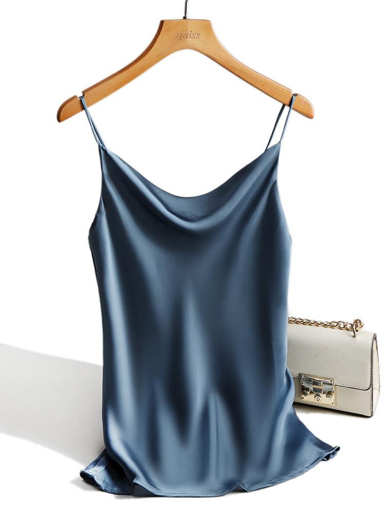Satin Silk Tank Tops Female 2020 Summer Sexy Strap Basic Spaghetti Strap Tops Women Sleeveless Camisole Camis Vest Black White