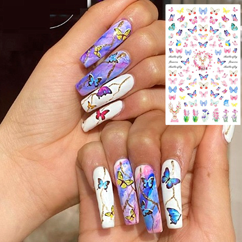 F-624 SERIES Butterfly CA-478-479-481  3d Nail Art Stickers Decal Template Diy Nail Tool Decorations
