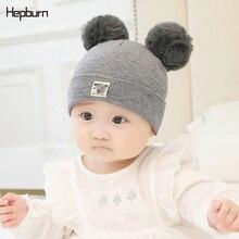 Hepburn Brand double Fluffy Pompom Hand knitting Warm hat For Kid Children Baby Newborn Beanie Cap Winter Wool Cotton Hat