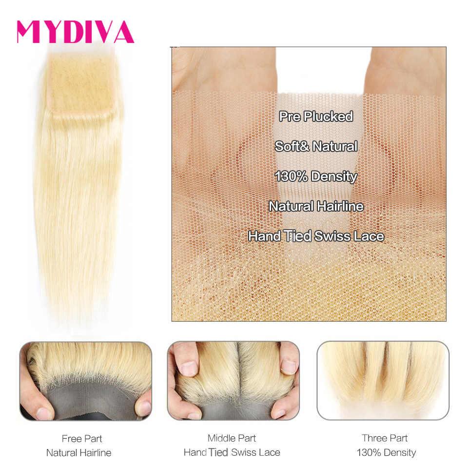 613 pacotes loira com fechamento brasileiro feixes de cabelo reto com fechamento remy extensões tecer cabelo humano 10-30 Polegada pacote