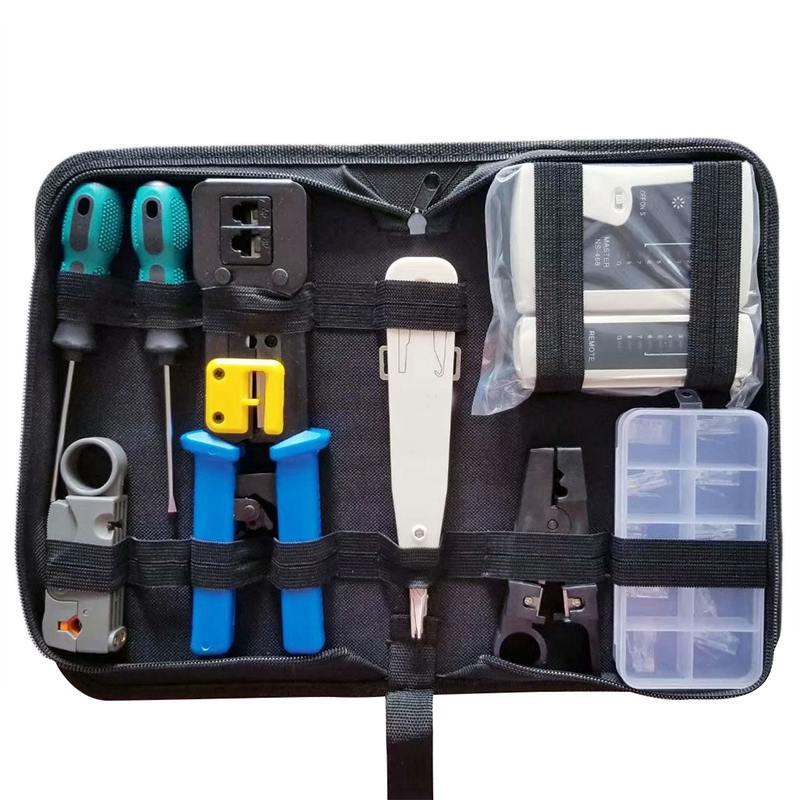 BMBY-Network Tool Kit Set, Cable Tester Repair Tools Wire Stripping Cutter, Coax Crimper Plug Crimping, Punch Down Wire Data Det