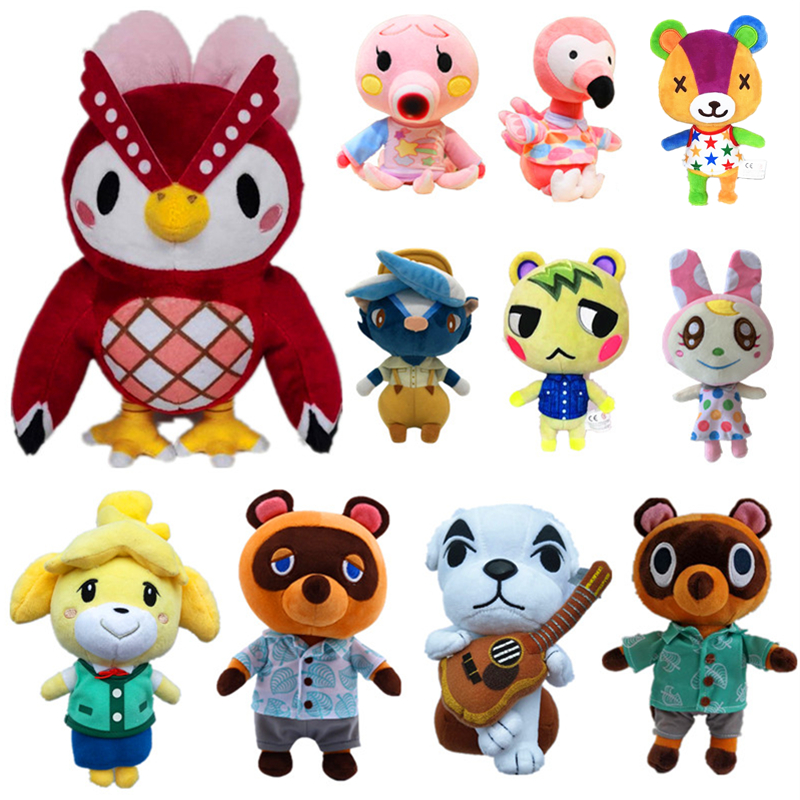 20cm 28cm Animal Crossing Plush Toy Free Give Away 1pcs Amiibo Card Jingjiang Doll KK Isabelle Plush Toys