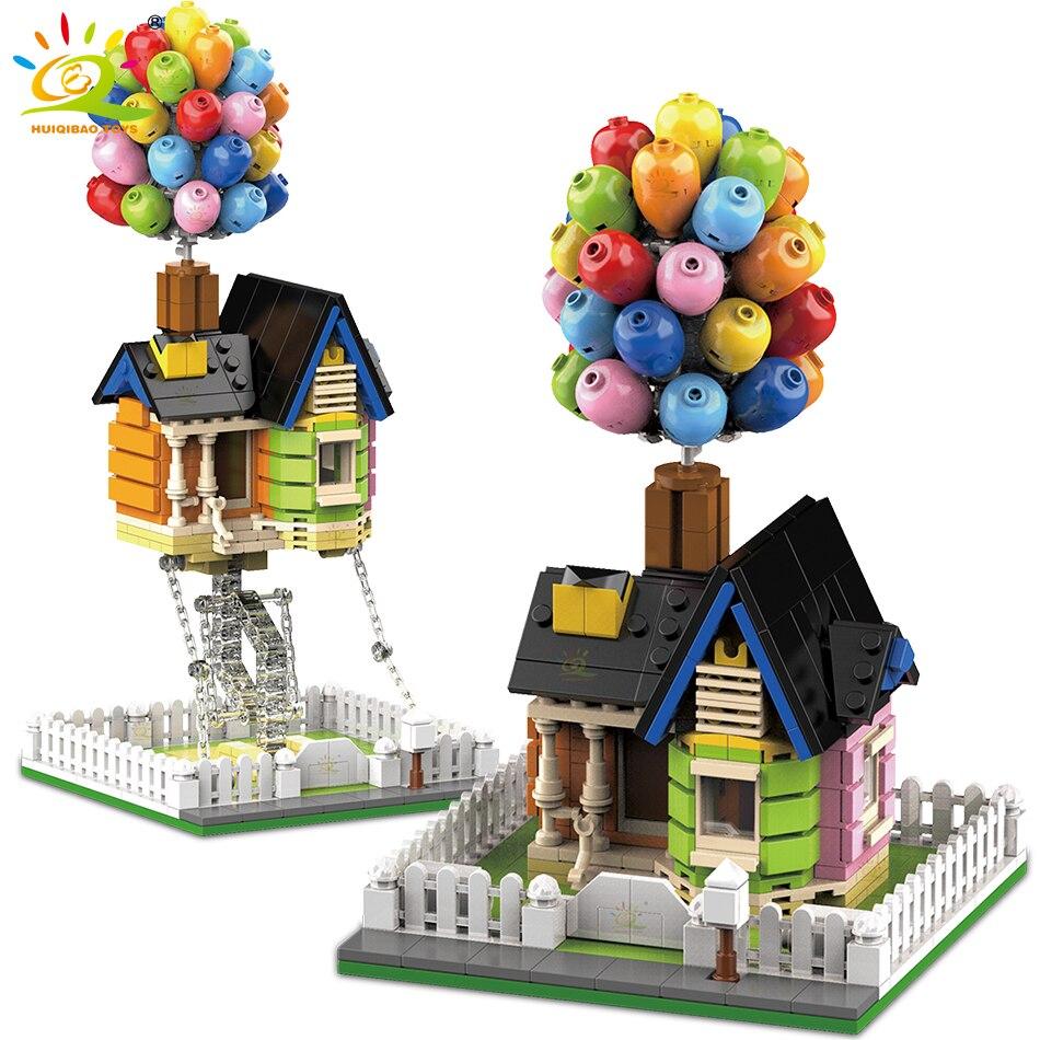 HUIQIBAO 555 шт. городской подвесной стол Tensegrity балансировка воздушный шар дом строительные блоки технический двор Кирпичи игрушки для детей