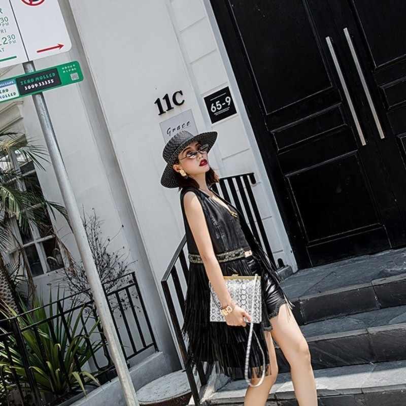 2020 Lente Schapenvacht Kwastje Lederen Vest Vrouwen Mouwloze Diamanten Streetwear Black Natuurlijke Leer Dame Jassen