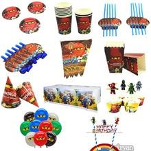 Одноразовые столовые приборы чашки/выдувание/Торт Топперы/обертки/шляпы для молодых мальчиков ninjago ninja тематические день рождения поставка душ