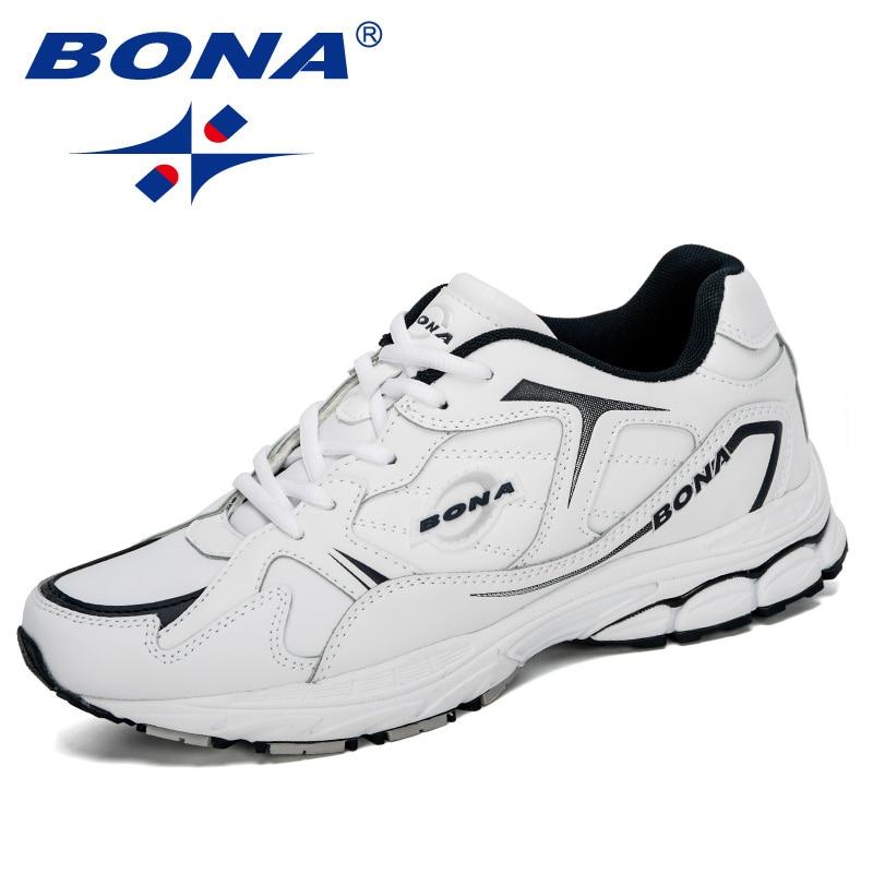 BONA 2020 New Designers Cow Split Sport Shoes Men Jogging Footwear Outdoors Man Trendy Sneakers Running Shoes Man Comfortable