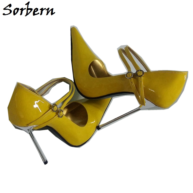Sorbern Sexy Pointed Toe Women Pumps Mary Janes Steel High Heels 12Cm 14Cm 16Cm 18Cm Plus Size Shoes Us5-16 Ladyboy Shoes Custom