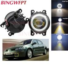 2x Car Accessories LED Fog Light Angel Eye with Glass len For Renault Megane 2/3 Duster Fluence Koleos Kangoo 2003-2015