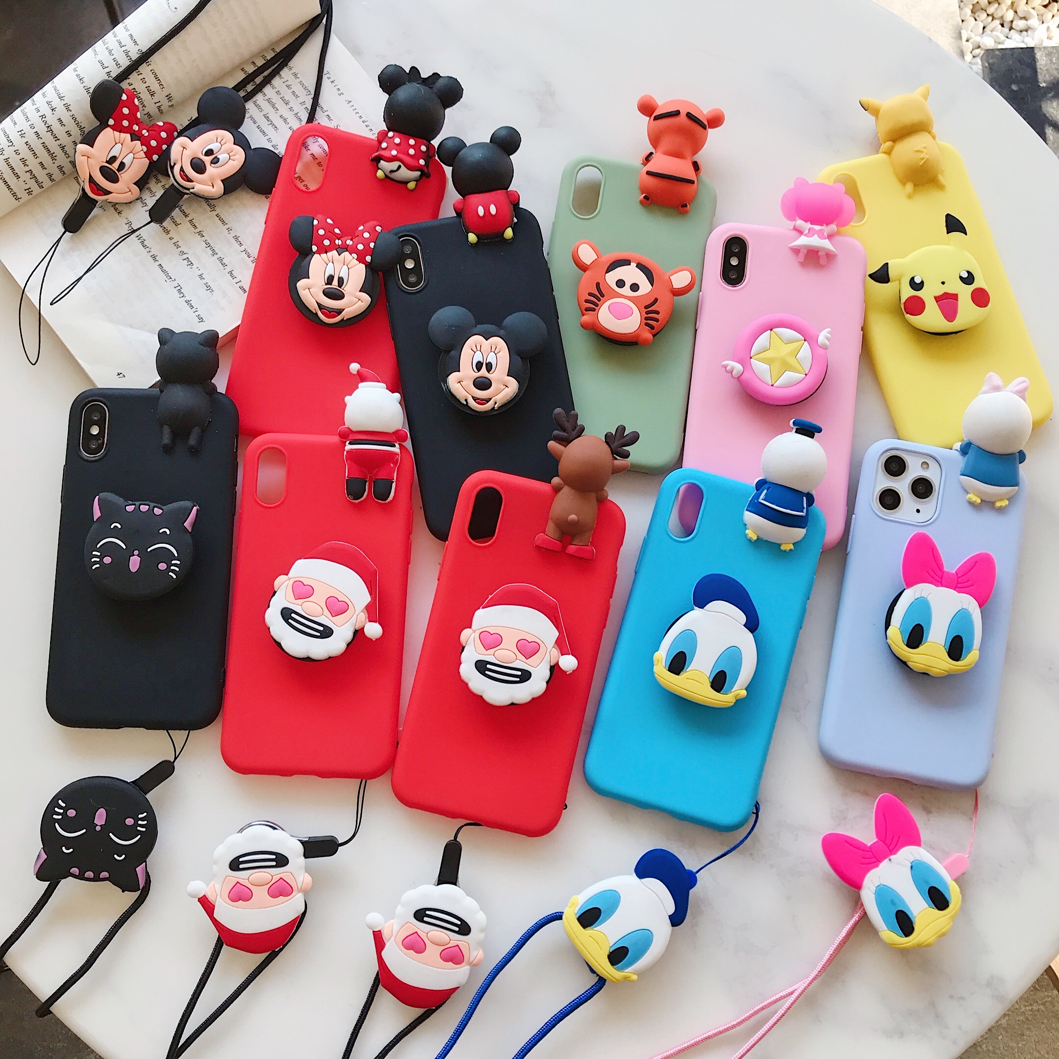 Stand Case on for <font><b>xiaomi</b></font> <font><b>Redmi</b></font> note7 pro 5 6 <font><b>6a</b></font> 6pro note5 4 6 pro 9t pro note8 pro Cover 3D Cartoon Toy Doll Soft Phone Cases image