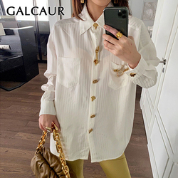GALCAUR Diamonds Striped Shirt For Women Lapel Long Sleeve Casual Loose One Size White Blouse Female 2020 Summer Fashion Clothes