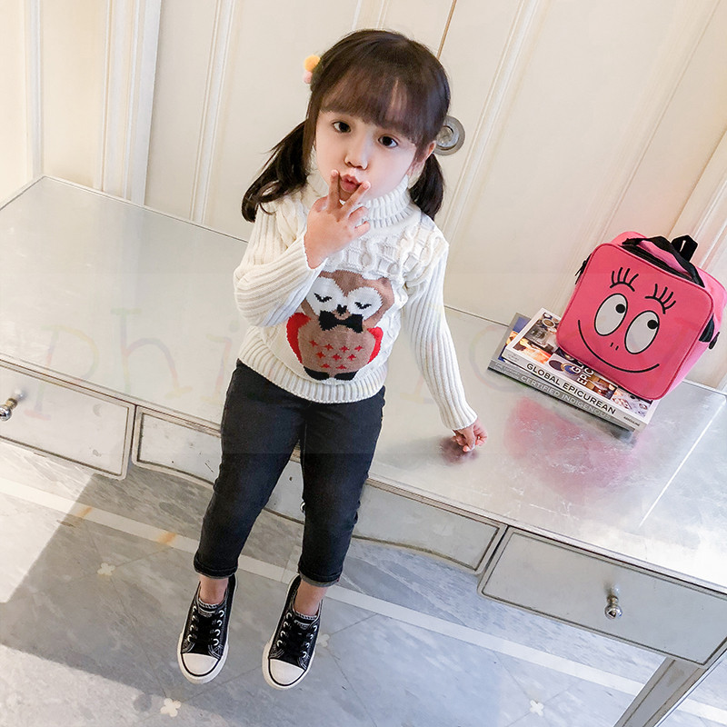 PHILOLOGY 2T-8T owl pattern winter boy girl kid thick Knitted bottoming turtleneck shirts high collar pullover sweater 5