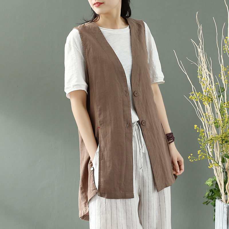 Retro Cotton And Linen Vest Jacket Women Loose Casual Wild V-neck Sleeveless Waistcoat Summer Thin Vest Shirt Jacket Tops R331