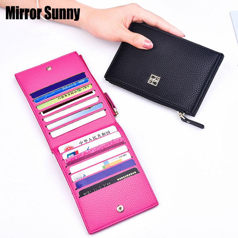 MIRROR SUNNY New Lichee PU Women Short Wallet Female Multi-card Zipper Card Holder Purse Lady Hand Bag