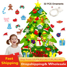 Voelde Kerstboom 3.2ft Diy Muur Opknoping Xmas Boom Met 32 Pcs Ornamenten En 50 Leds String Lights Kerst Decoratie(China)