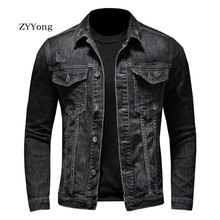 Retro Spring Bomber Black Denim Jacket For Men Jeans Coats Motorcycle Casual Outwear Clothing Overcoat Outwear Ropa Hombre