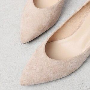 Image 5 - 女性の靴 2020 スリップスクエアハイヒールフロックポイント低ハイヒール女性の靴オフィスの女性の女性パンプス 2020 秋