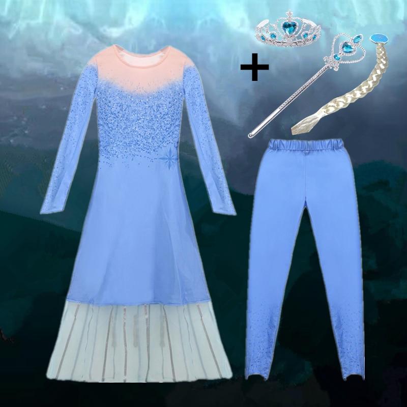 Girls Dress Christmas Anna Elsa 2 Cosplay Party Vestidos Girl Clothing Elsa Costume Snow Queen Elsa Dress For Halloween Princess