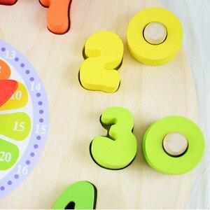 Image 5 - مرحلة ما قبل المدرسة الطفل ألعاب مونتيسوري التعليم المبكر وسائل تعليمية ألعاب الرياضيات ساعة رقمية لعبة خشبية العد شكل هندسي مطابقة