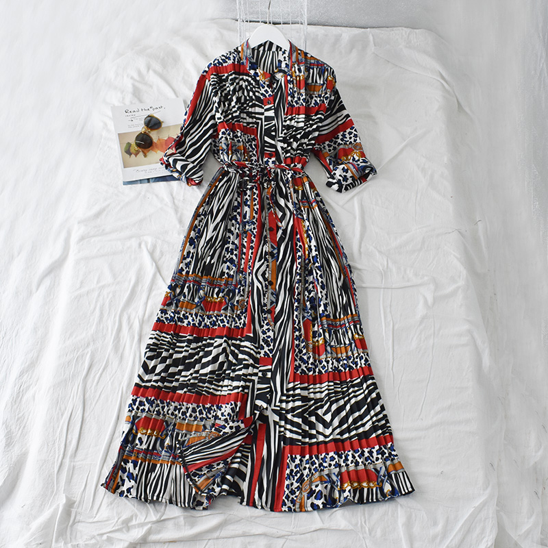 Spring Summer Autumn Women's Dress National Style Long Dress Printed Floral Beach Dress Pleated Long-sleeved Dress Women GD262