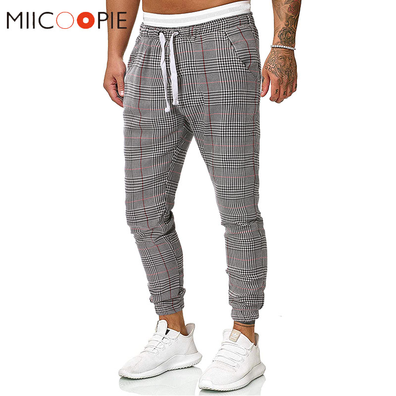 New Brand Plaid Printed Harem Pants Men Fashions Beam Foot Streetwear Mens Joggers Pants Skinny Hip Hop Fitness Track Pants XXL