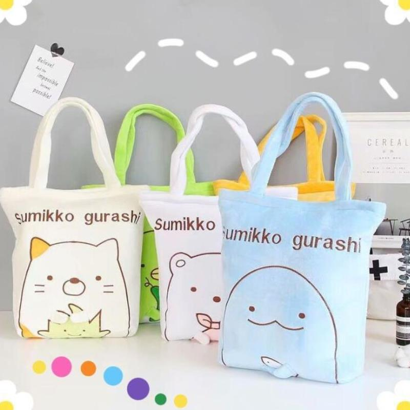 1pc New Cute Cartoon Sumikko Gurashi Fashion Anime Shopping Bag Casual Shoulder Bags Handbag Plush Toys Gift