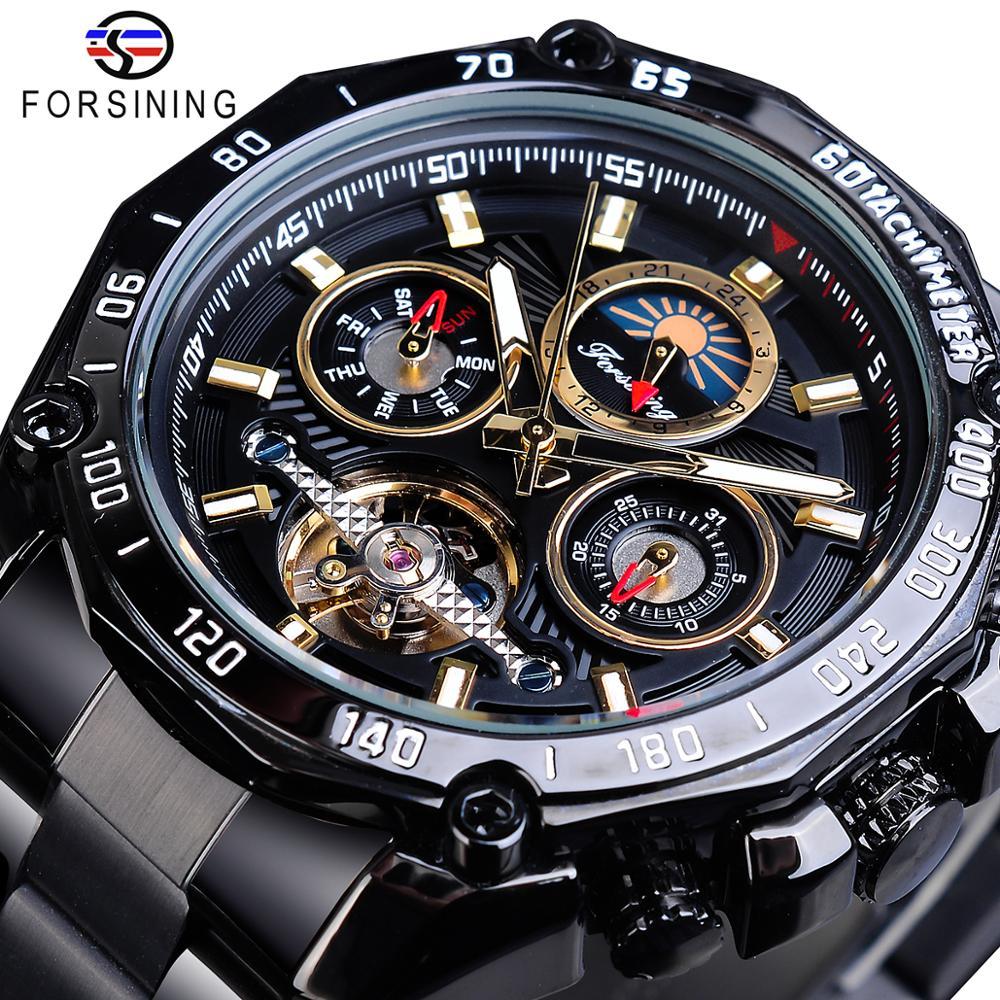 Forsining Clássico Preto Masculino Relógios Mecânicos Tourbillon Esqueleto Oco Auto-vento Data Moonphase Aço Cintos Relógio Automático