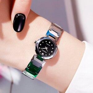 Image 1 - John Boss Simple Design Swiss Move Sapphir Cyrstal Watch Woman Diamond Cutting Buzel Design Water Resist Tungsten Steel Watch