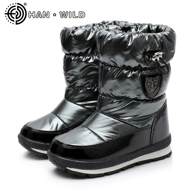 -<font><b>30</b></font> Degree Russia Real Wool Keep Warm Women Ankle Boots Winter <font><b>Shoes</b></font> Ladies Waterproof Snow Boots Boys Girls Snow Boots Rainboot image