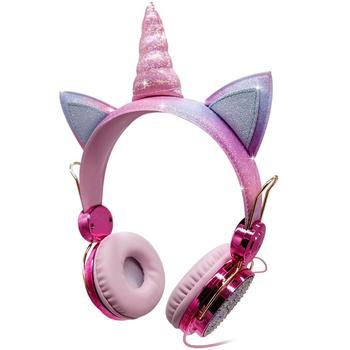 Cute Unicorn Headphone Kids Colorful Diamond Phone Headphones Girl Fone Gamer Earphones With Mic For Live Stream Youtube Video