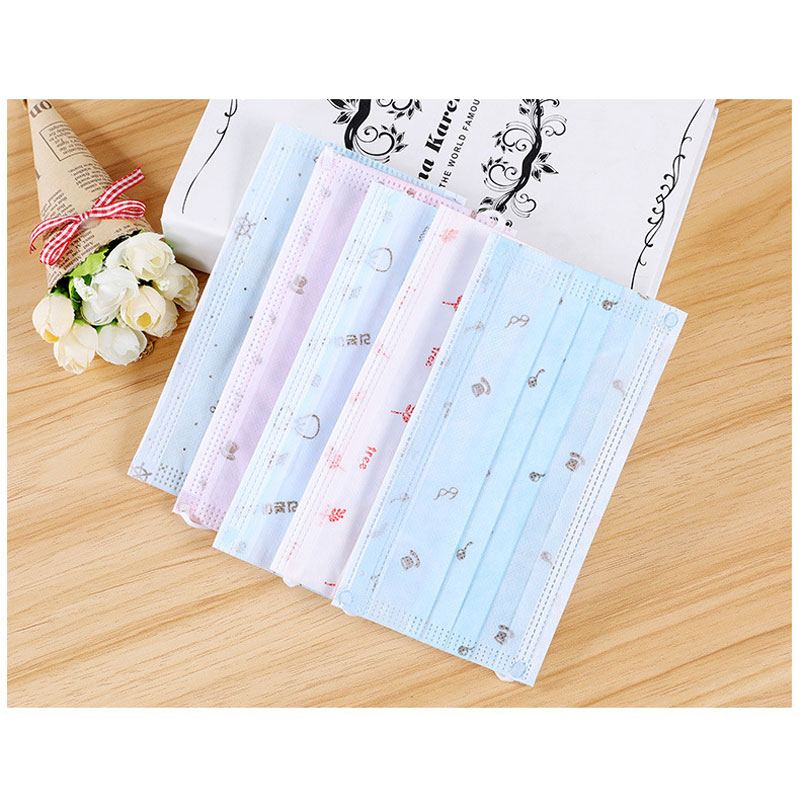 10Pcs/Set Unisex Printed Disposable Masks Kawaii Three-Layer Non-Woven Dust Protective Masks For Adult Kids Men And Women