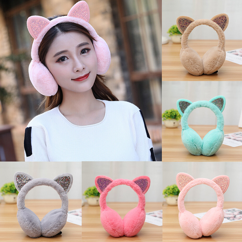 2019 Cute Girl Winter Cat Earmuffs Fur Warm Women Protect Sequin Soft Plush Windproof