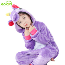 EOICIOI Kids Pajamas For Boys Girls Sleepwear Onesies Flannel Animal Stitch Unicorn Pegasus Cosplay Hooded Children Pajamas Set