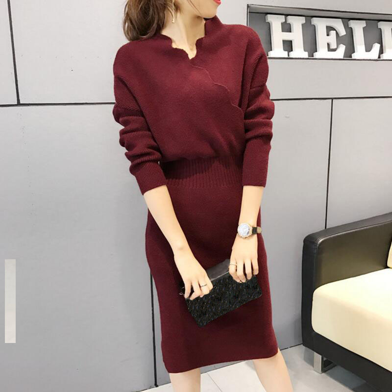 Sweater Skirt Long Sleeves Long Paragraph Over The Knee Loose Korean Version 2019 Spring Autumn Thick Sweater Women