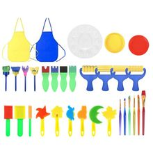 32 szt Pędzle malarskie dla dzieci narzędzia do rysowania gąbek z plastikowymi paletami miski malarskie szczotki z pianki gąbczastej i fartuch wodoodporny tanie tanio OOTDTY