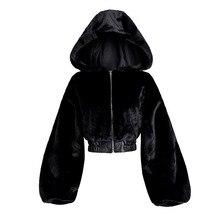 Женская короткая куртка с искусственным мехом Rosetic, модная повседневная черная куртка в готическом стиле, верхняя одежда с капюшоном, больш...