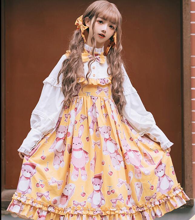 Купить платье в стиле лолиты с оборками и бантиком милое платье высокой