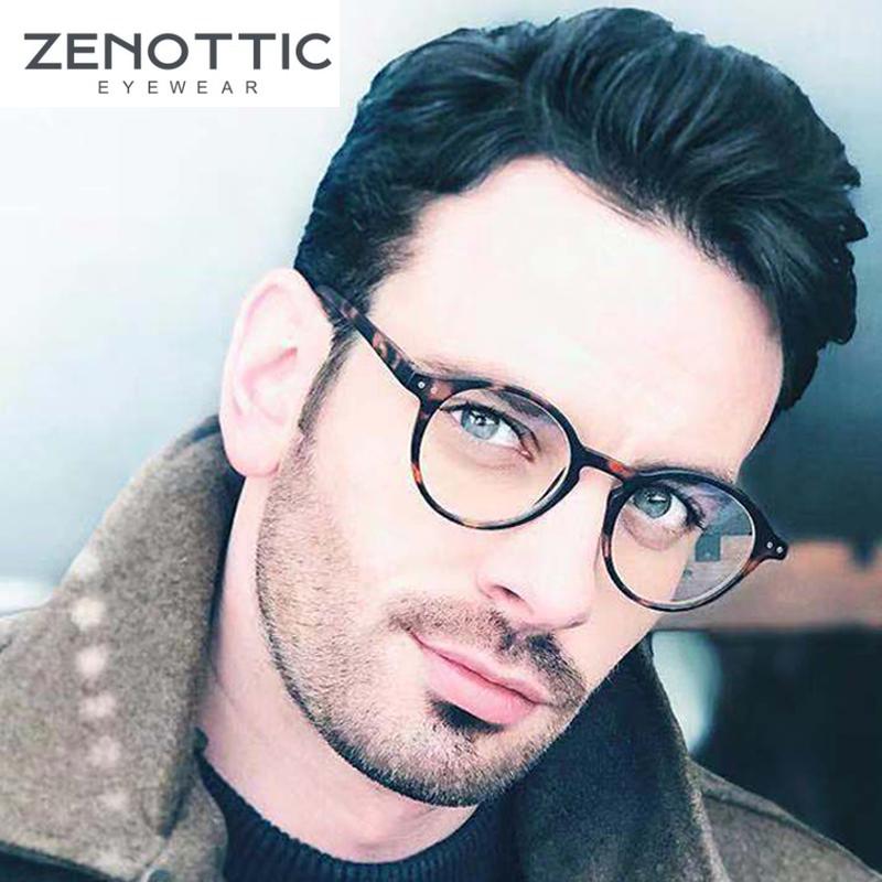 ZENOTTIC Round Frame Reading Glasses For Men Women Clear Lens Eye Glasses Hyperopia Anti Blue Light Reading Glasses Eyewear